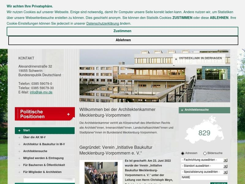 Screenshot von http://www.architektenkammer-mv.de
